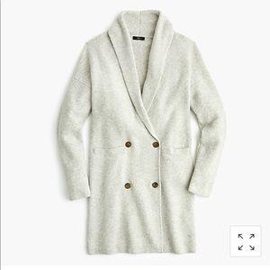 NWOT J.Crew grey double breasted cardigan coat